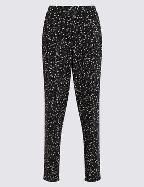 Kadın Siyah Desenli Tapered Fit Pantolon