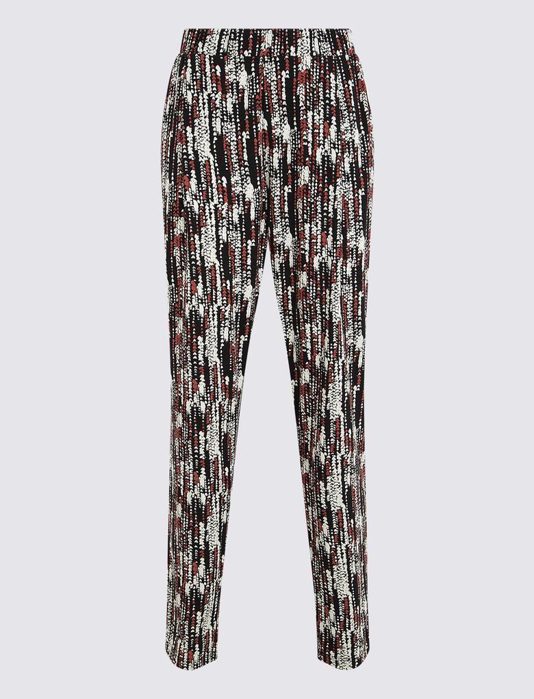 Kadın Bordo Desenli Tapered Fit Pantolon