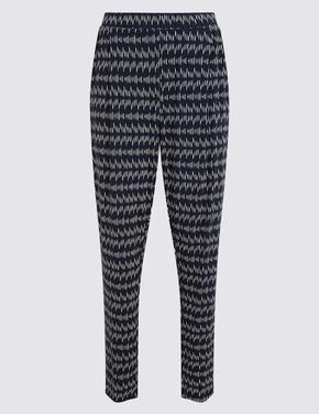 Kadın Lacivert Desenli Tapered Fit Pantolon