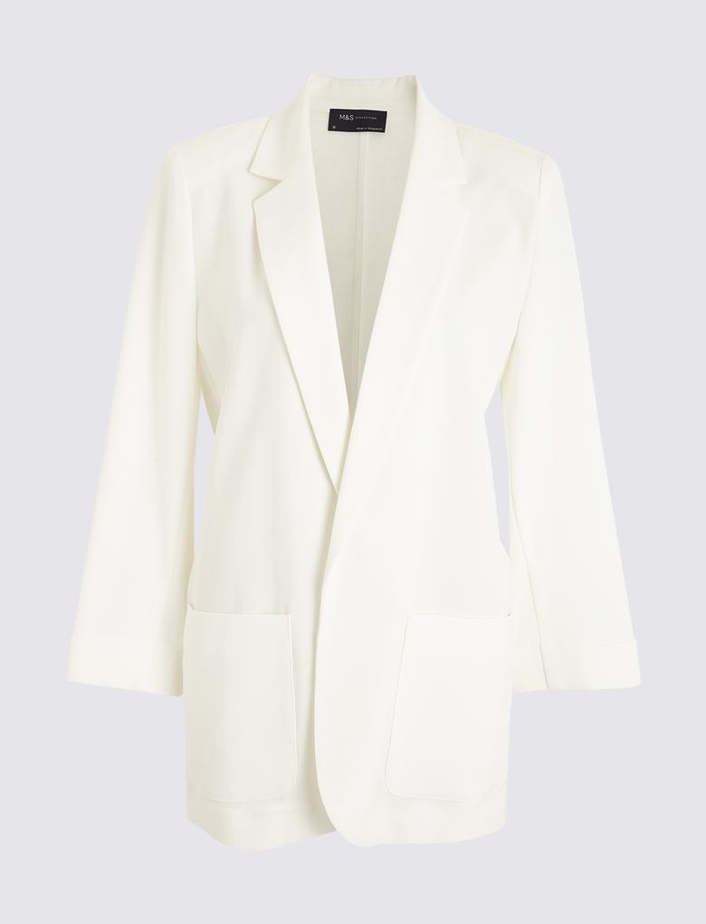 Kadın Beyaz Relaxed Blazer Ceket