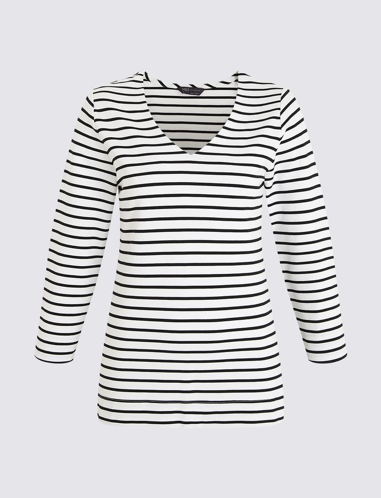 Kadın Siyah V Yaka T-Shirt