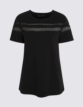 Kadın Siyah Dantel Detaylı T-Shirt