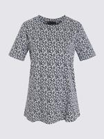 Kadın Beyaz Desenli Kısa Kollu T-Shirt