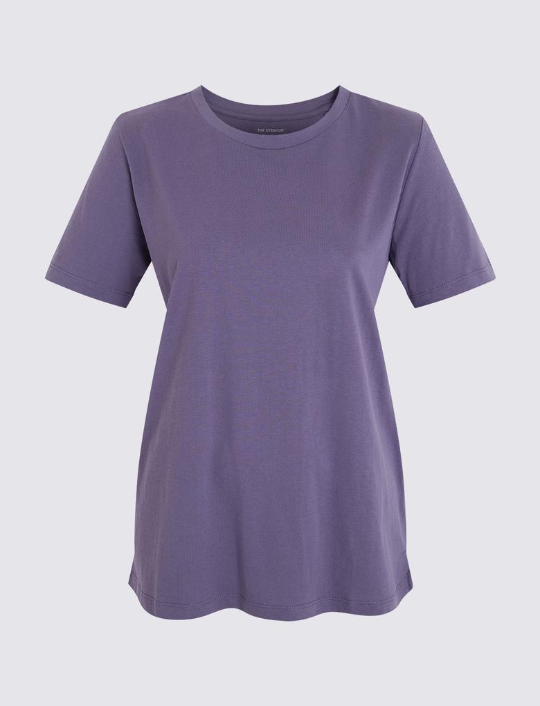 Kadın Mavi Kısa Kollu Straight Fit T-Shirt