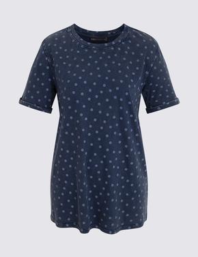 Koyu lacivert Kısa Kollu T-Shirt