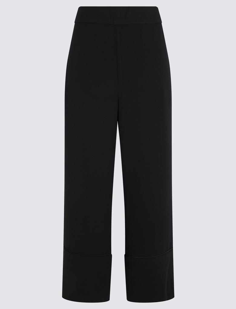 Kadın Siyah Wide Leg Tailored Fit Pantolon