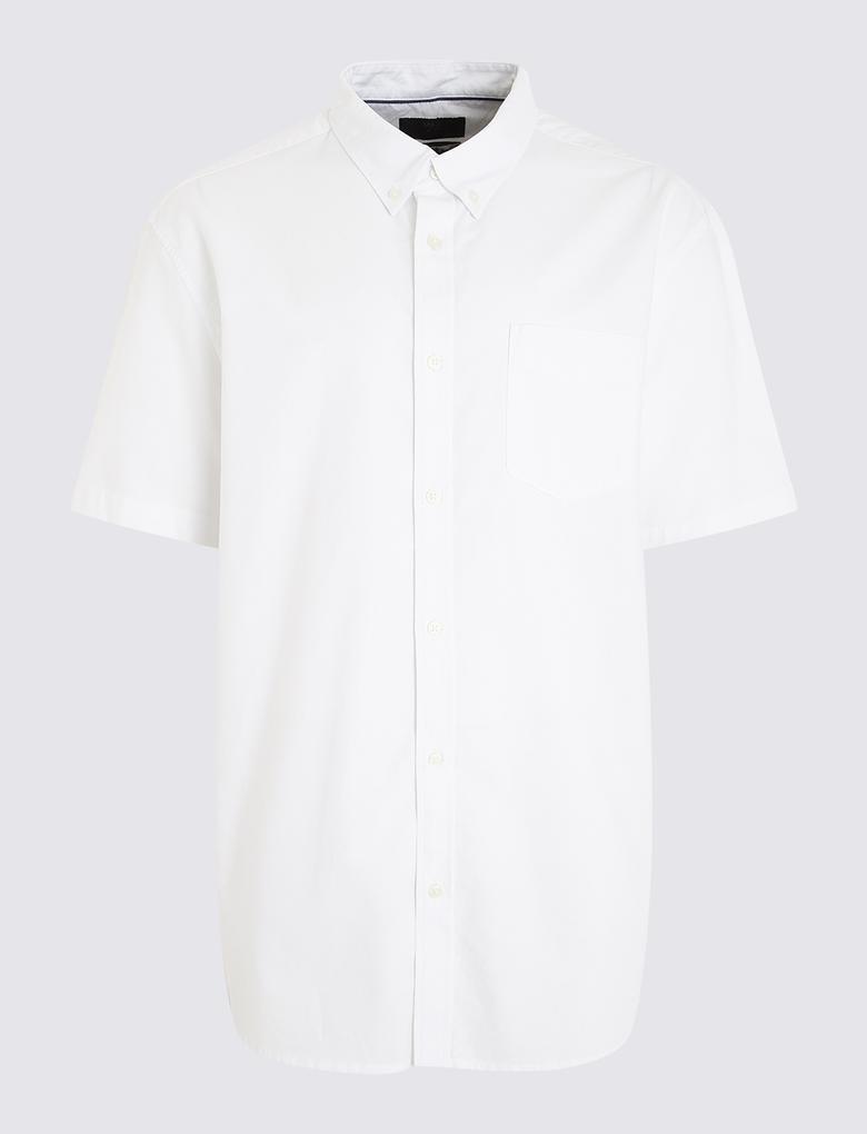Erkek Beyaz Kısa Kollu Oxford Gömlek