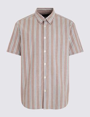 Erkek Kırmızı Çizgili Oxford Gömlek