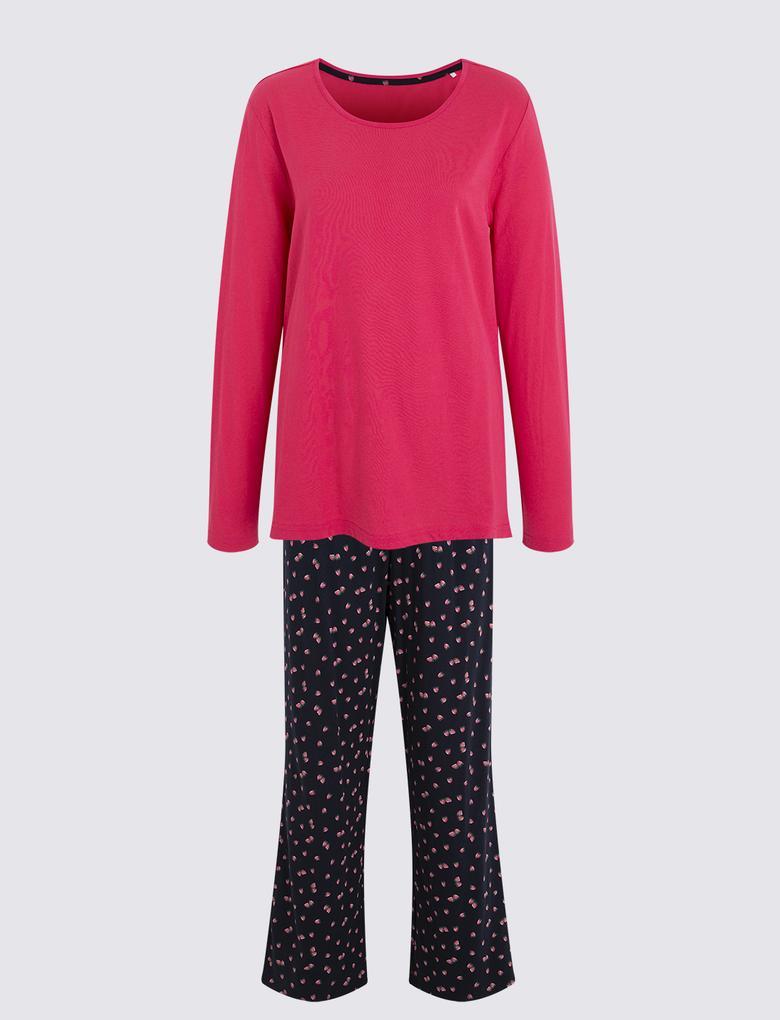 Kadın Lacivert Çilek Desenli Pijama Takımı
