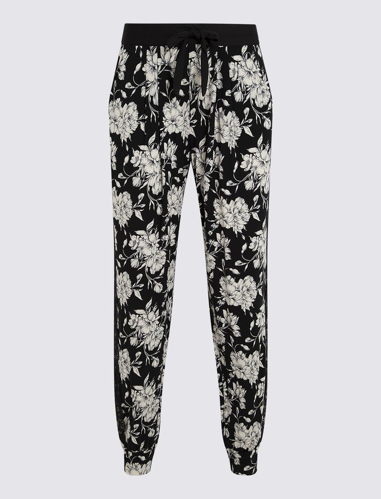 Kadın Siyah Desenli Kısa Kollu Pijama Takımı