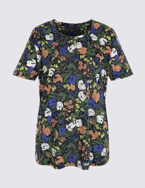 Kadın Lacivert Kısa Kollu Desenli T-Shirt