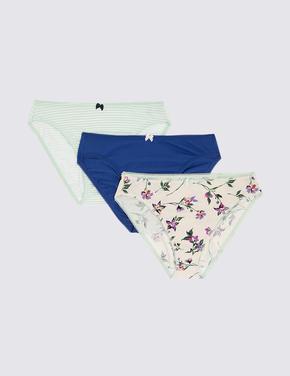 Kadın Mavi 3'lü Çiçek Desenli High Leg Külot Seti