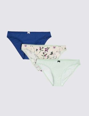 Kadın Mavi 3'lü Çiçek Desenli Bikini Külot Seti
