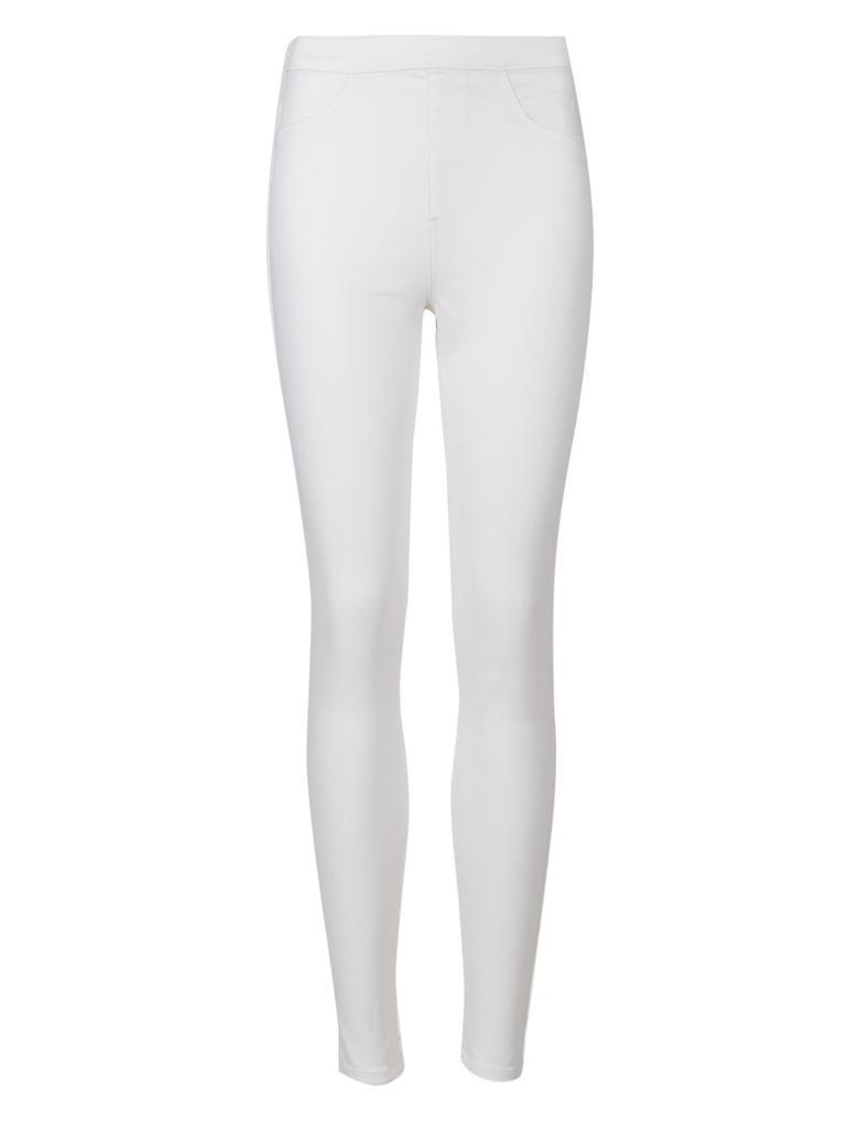 Beyaz Yüksek Belli Jegging Pantolon
