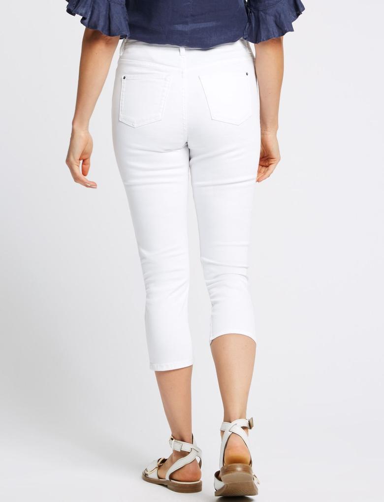 Kadın Beyaz Orta Belli Super Skinny Leg Kısa Jean Pantolon