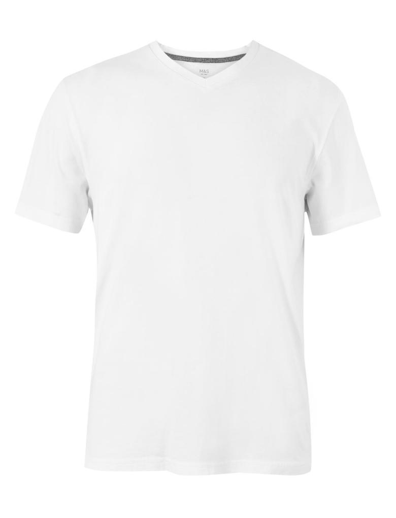 Beyaz Pamuklu V-Yaka T-Shirt