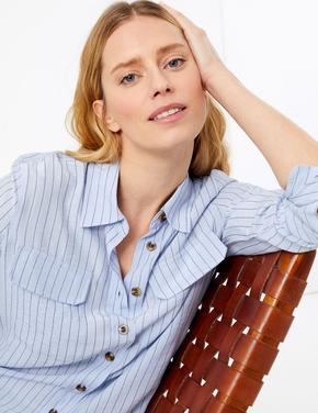 Kadın Mavi Çizgili Utility Gömlek