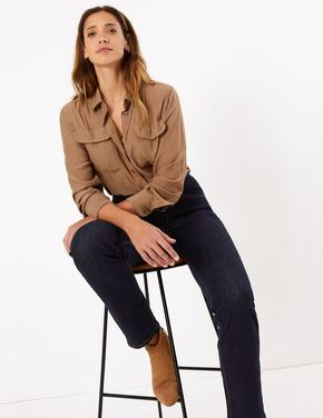 Kadın Lacivert Şekillendirici Yüksek Belli Straight Jean Pantolon