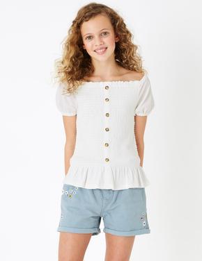 Kız Çocuk Beyaz Düğme Detaylı Bluz