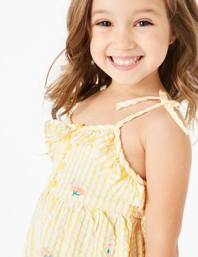 Kız Çocuk Sarı İşlemeli Çizgili Tulum