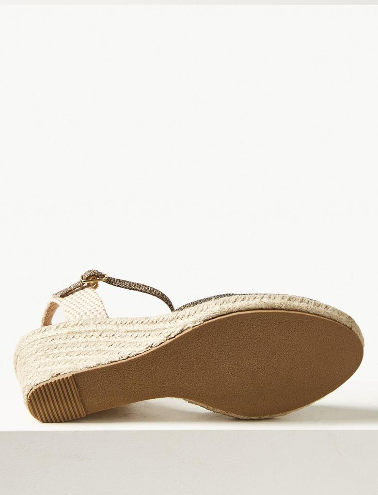 Metalik Wide Fit Dolgu Topuklu Espadril