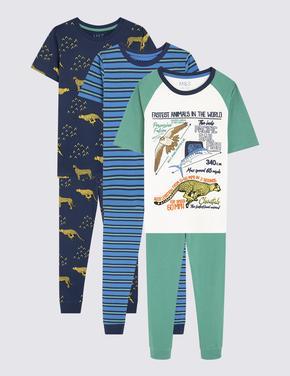 Çocuk Multi Renk 3'lü Desenli Pijama Seti