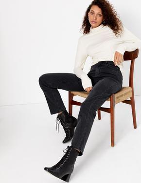 Siyah Tencel ™ Straight Leg Jean Pantolon