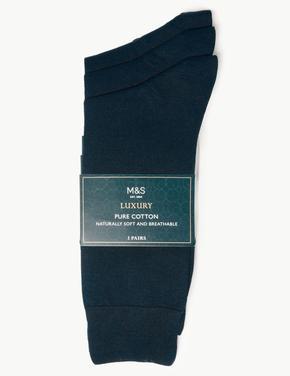 Erkek Lacivert 3'lü Saf Pamuklu Çorap