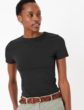 Kadın Siyah Kısa Kollu Fitted T-Shirt