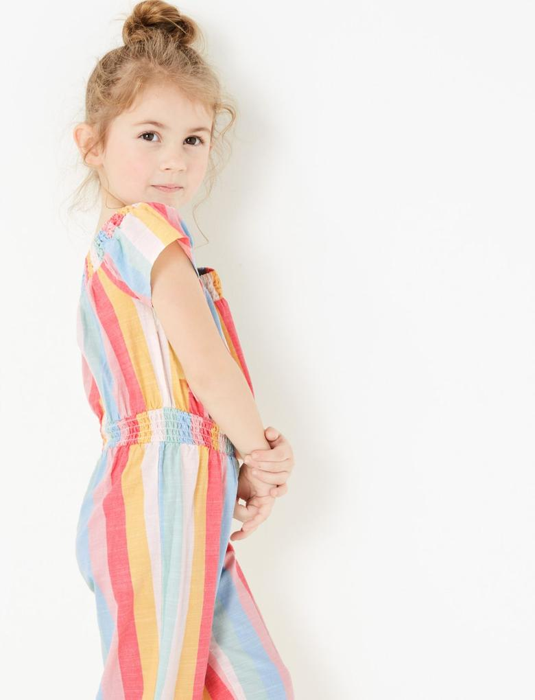 Kız Çocuk Multi Renk Çizgili Tulum
