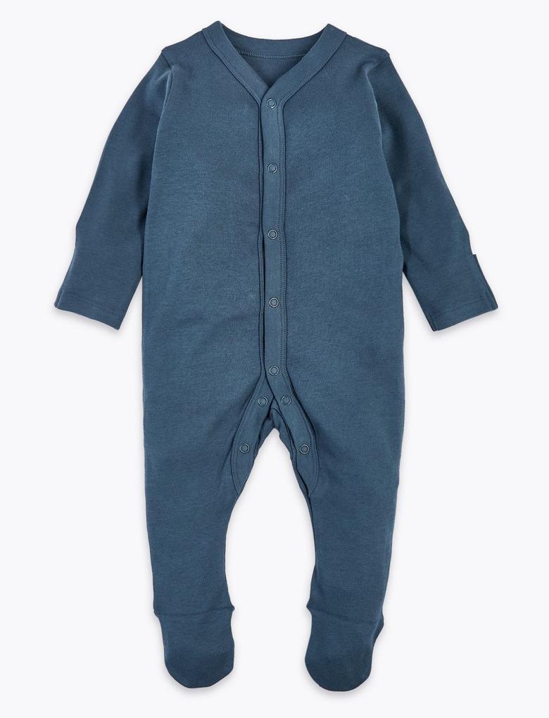 Bebek Mavi 3'lü Desenli Tulum Seti