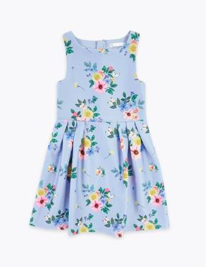 Kız Çocuk Mavi Çiçek Desenli Balo Elbisesi