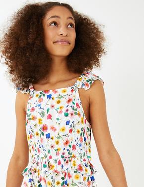 Kız Çocuk Beyaz Çiçek Desenli Tulum