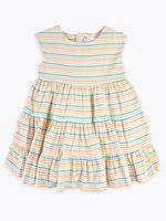 Kız Çocuk Multi Renk Kısa Kollu Çizgili Elbise