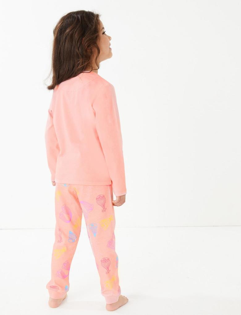 Çocuk Pembe Uzun Kollu Desenli Pijama Takımı