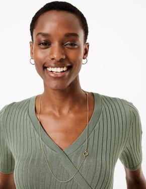 Kadın Yeşil Kısa Kollu Triko Bluz