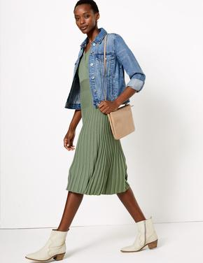 Kadın Yeşil Kısa Kollu Anvelop Triko Elbise
