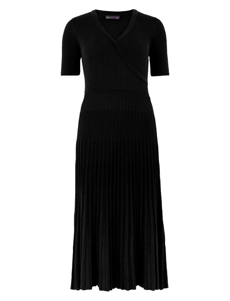 Kadın Siyah Kısa Kollu Anvelop Triko Elbise