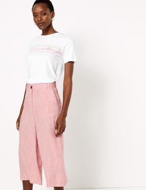 Kadın Beyaz Saf Pamuklu Straight Fit T-Shirt