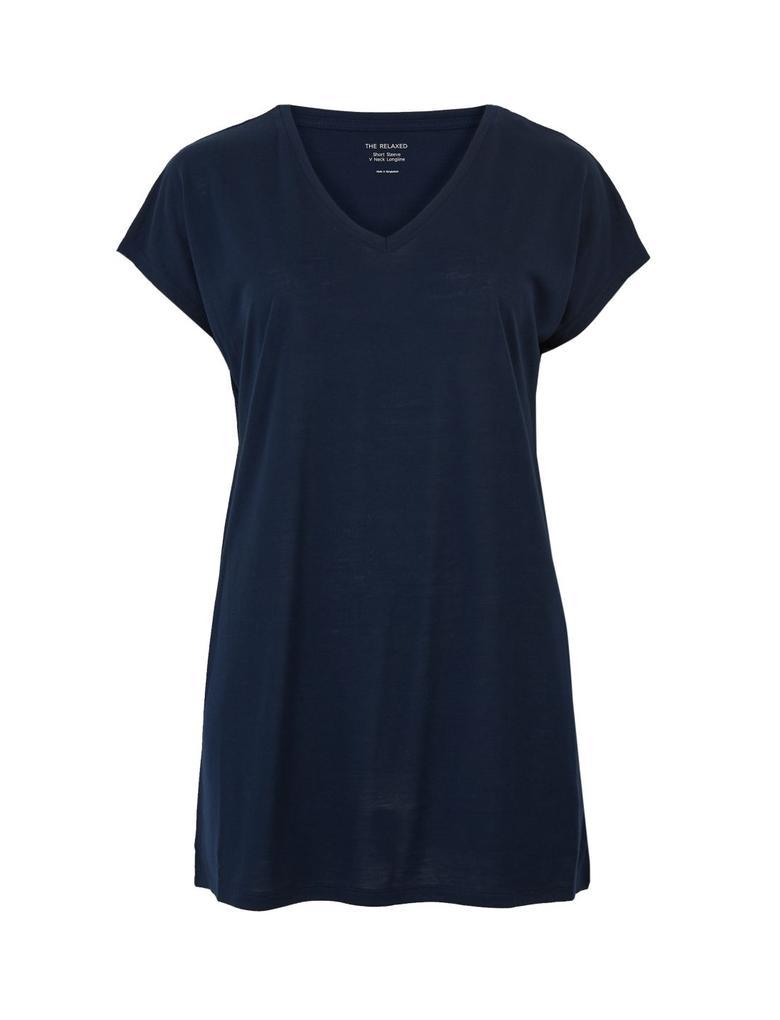 Kadın Lacivert V Yaka Relaxed T-Shirt