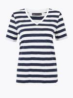 Kadın Lacivert Çizgili Straight Fit T-Shirt
