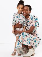 Kadın Pembe Çiçek Desenli Midi Gömlek Elbise
