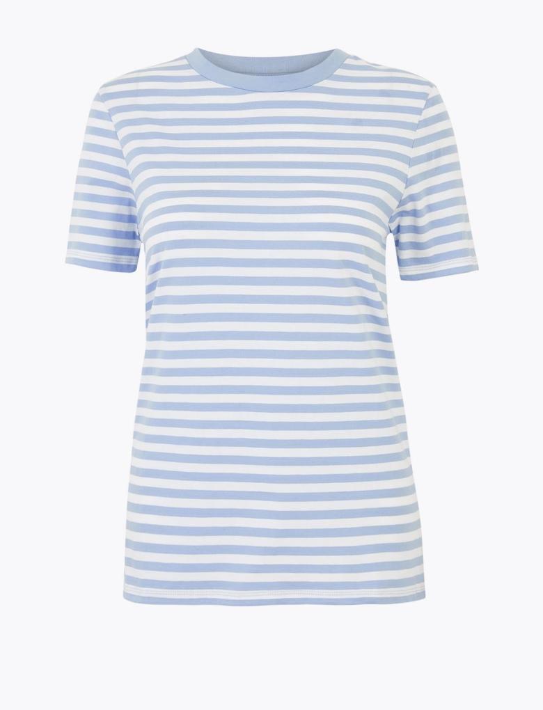 Kadın Mavi Çizgili Straight Fit T-Shirt