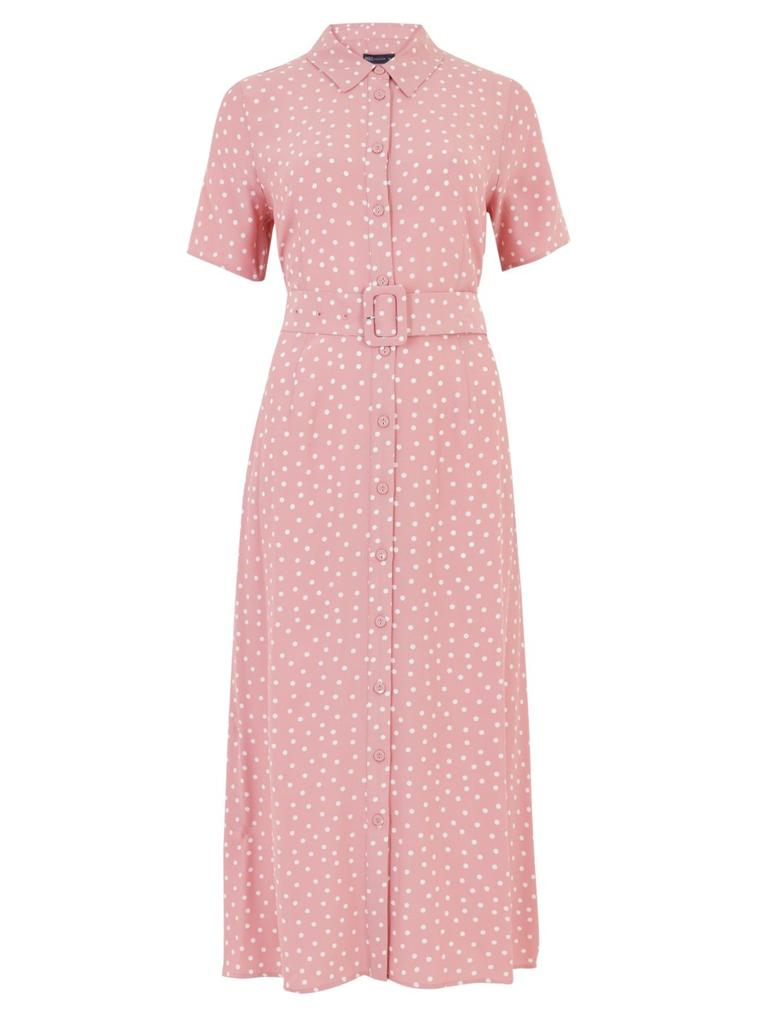 Kadın Turuncu Puantiye Desenli Midi Gömlek Elbise