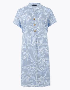 Kadın Mavi Desenli Kısa Kollu Shift Elbise
