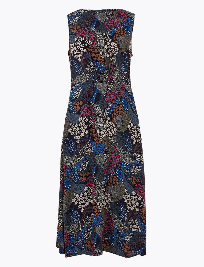 Kadın Lacivert Desenli Midi Elbise