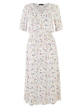 Kadın Krem Çiçek Desenli V Yaka Midi Elbise