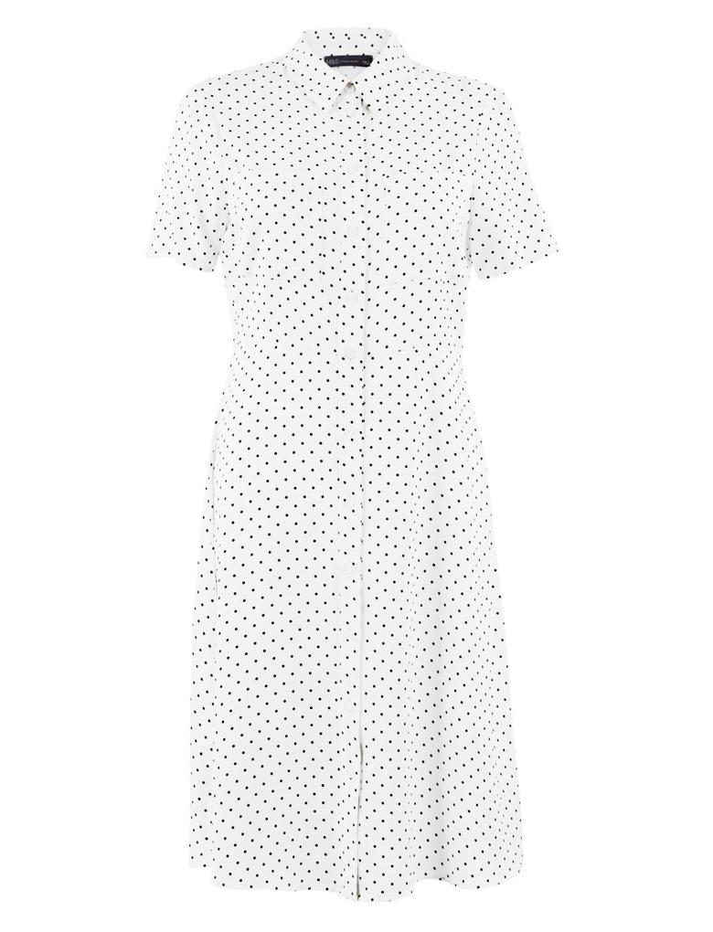 Kadın Krem Puantiyeli Mini Gömlek Elbise