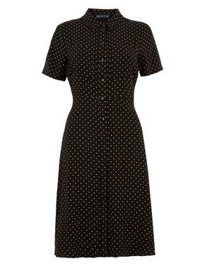 Kadın Siyah Puantiyeli Mini Gömlek Elbise