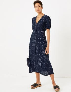 Kadın Lacivert Kalp Desenli V Yakalı Midi Elbise